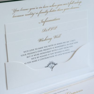 Luxury wedding invitation box with green suede and gold foil