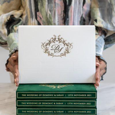 Elegant wedding invitation box with regal design