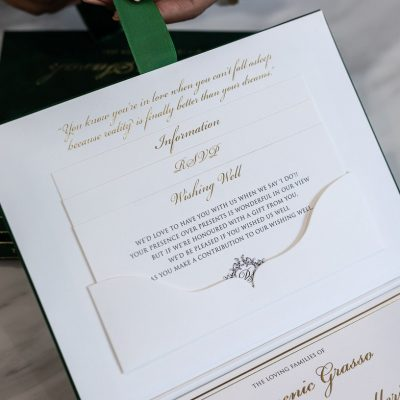 Boxed wedding invitation with pocket for RSVP cards, wishing well, details card