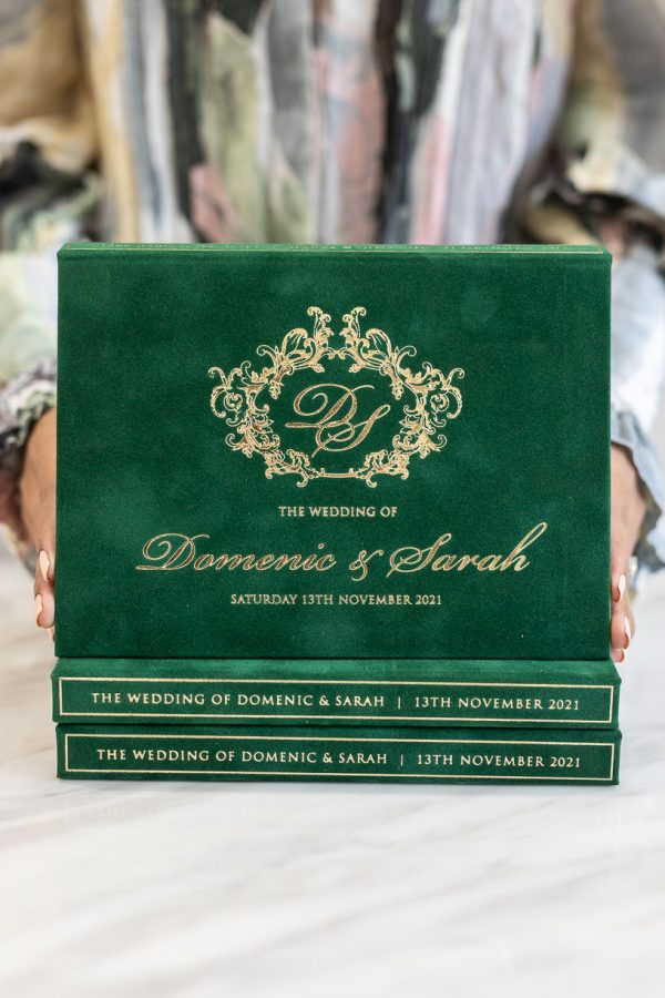 Green and gold wedding invitation box