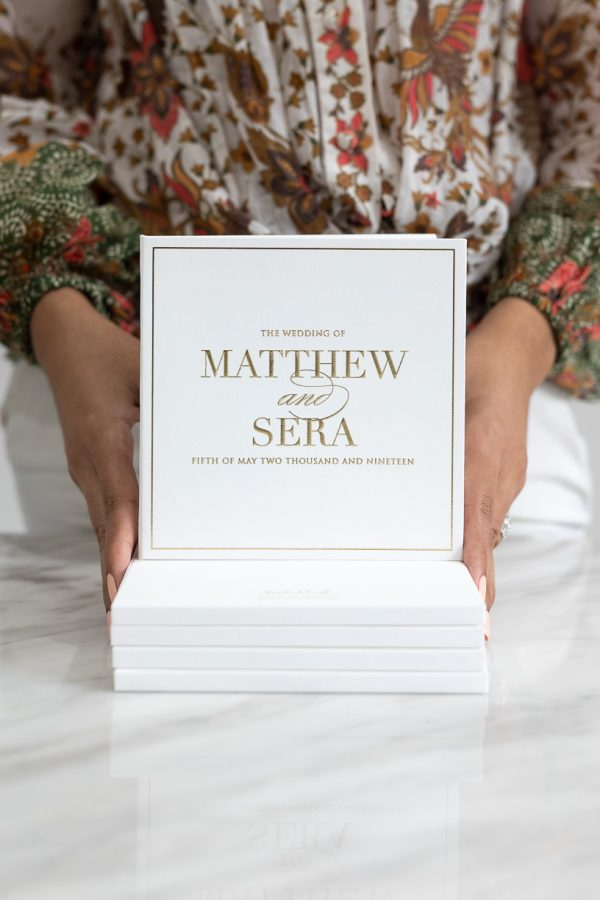 Modern and simple wedding invitations with gold foil embossing