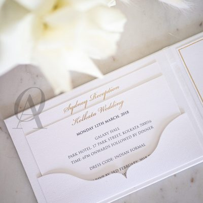 Black White and Gold Embossed Hardcover Wedding Invitation Booklet