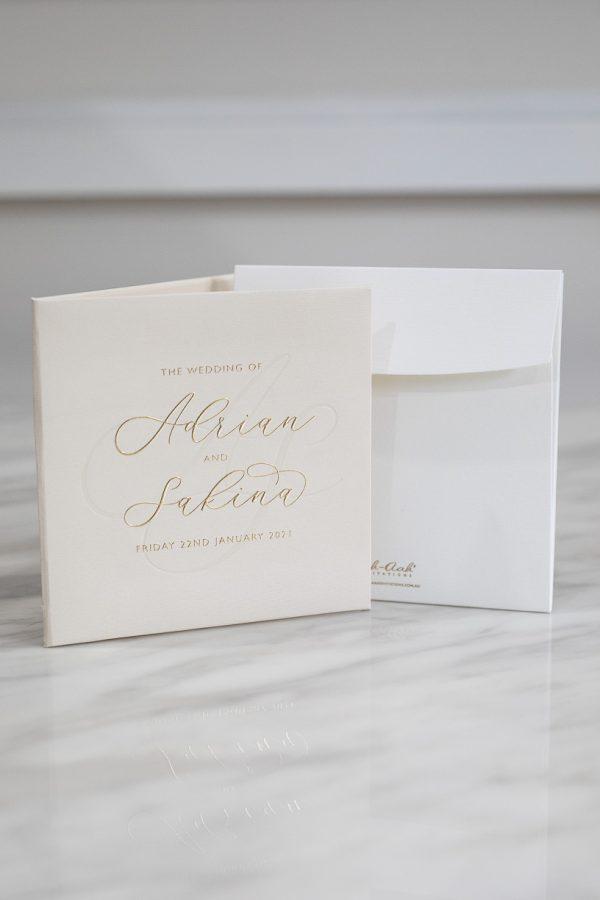 Nude wedding invitation with modern calligraphy