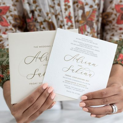Embossed wedding invitation nude and gold foil