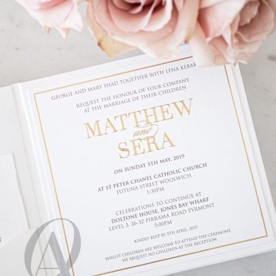 Modern White and Gold Embossed Wedding Invitations on Hardcover Booklet