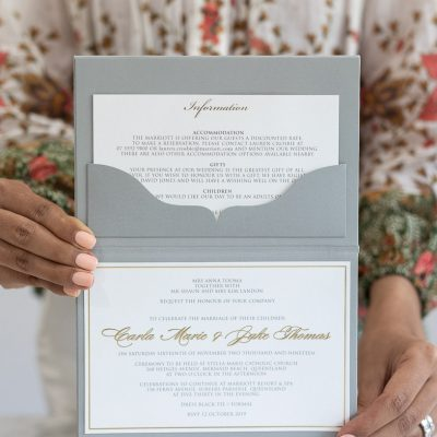 Grey pocket fold wedding invitation with luxurious gold foil