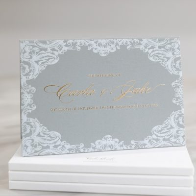 Elegant grey and gold wedding invitation hardcover booklet