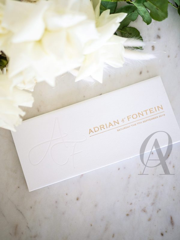 Modern and Minimalist Wedding Invitations with Gold Foil on Hardcover Booklet