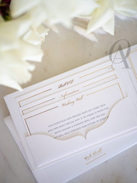 Ivory White and Gold Wedding Invitations with Embossing on Hardcover Booklet