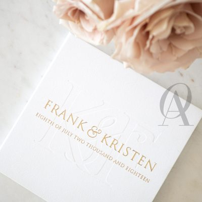 Modern White and Gold Wedding Invitations with Embossing on Hardcover Booklet