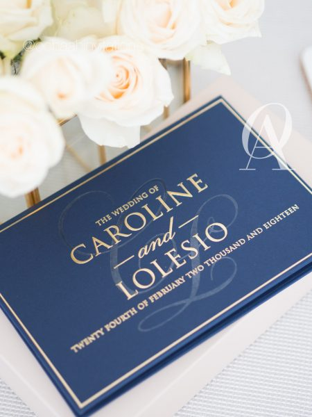 Navy Blue and Gold Wedding Invitations Hardcover Booklet