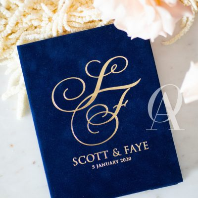 Navy and gold wedding invitation booklet