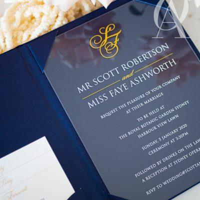 Acrylic wedding invitation inside hardcover booklet