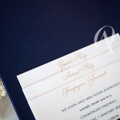 Hardcover invitation pocket with details cards