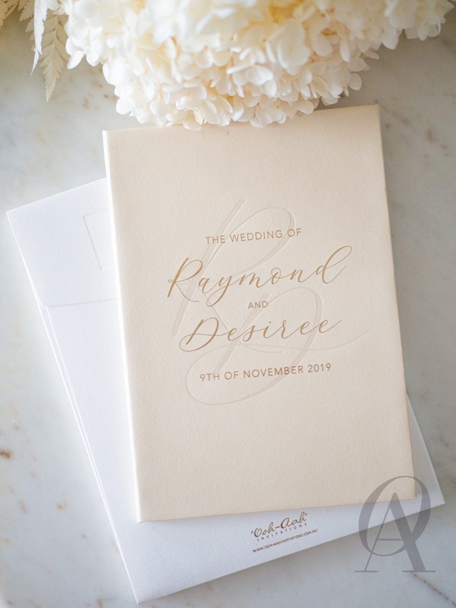 Luxe Nude and Neutral Wedding Invitations with Gold Foil Hardcover Booklet