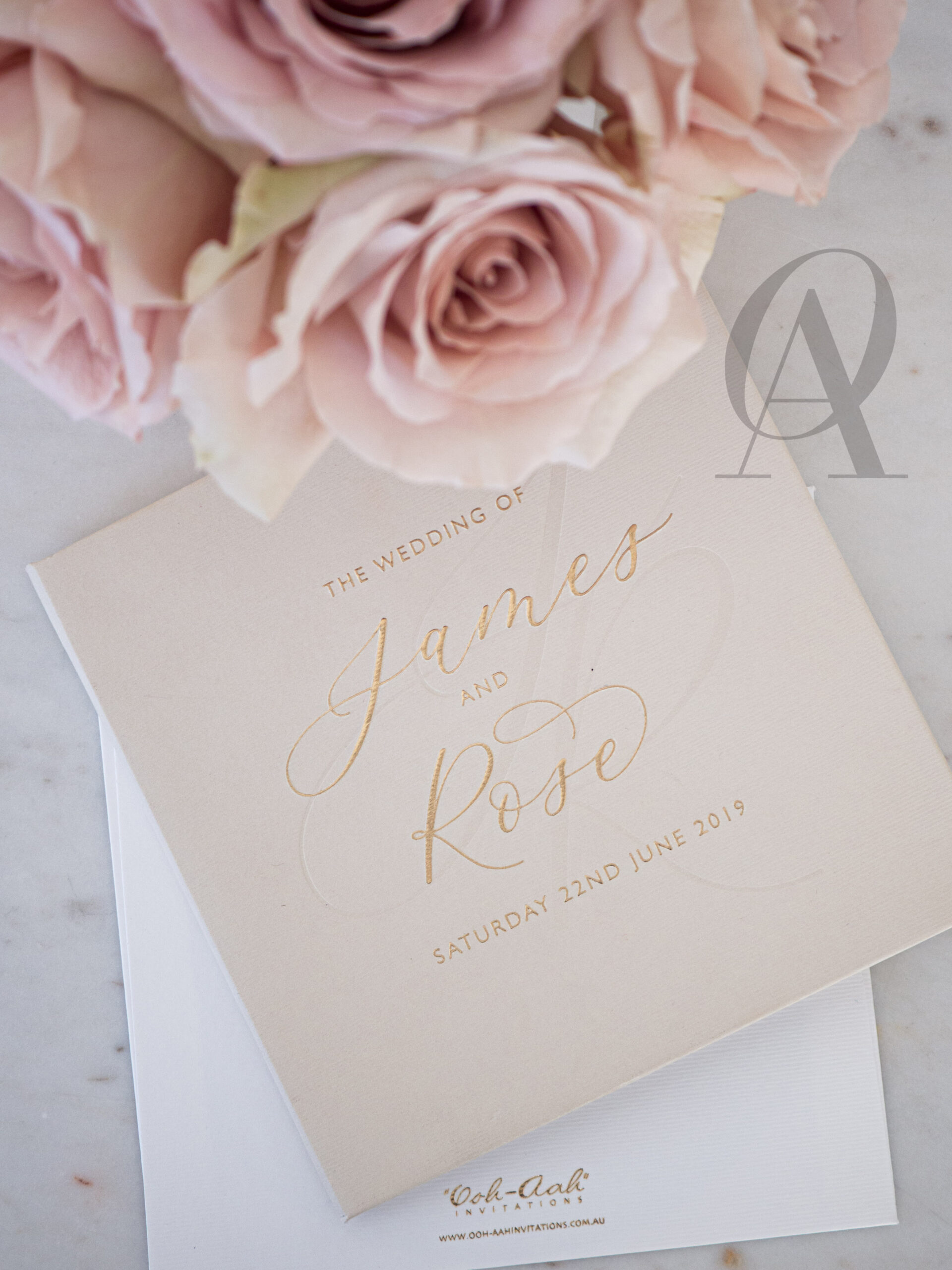 Luxe Nude and Neutral Wedding Invitations with Gold on Hardcover Booklet