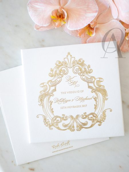 Luxury White and Gold Wedding Invitations with Embossing on Hardcover Booklet