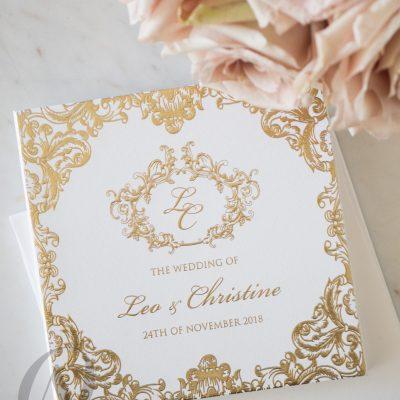 Regal and Elegant Gold Wedding Invitations Hardcover Booklet