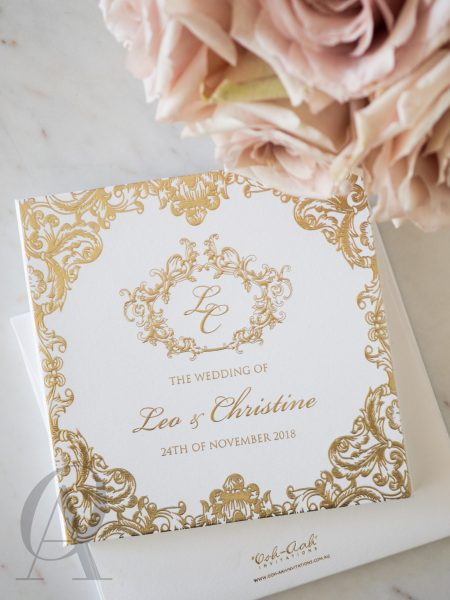 Regal and Elegant Gold Wedding Invitations Hardcover Booklet
