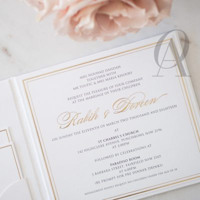 Regal and Elegant Ivory White and Gold Wedding Invitations on Hardcover Booklet