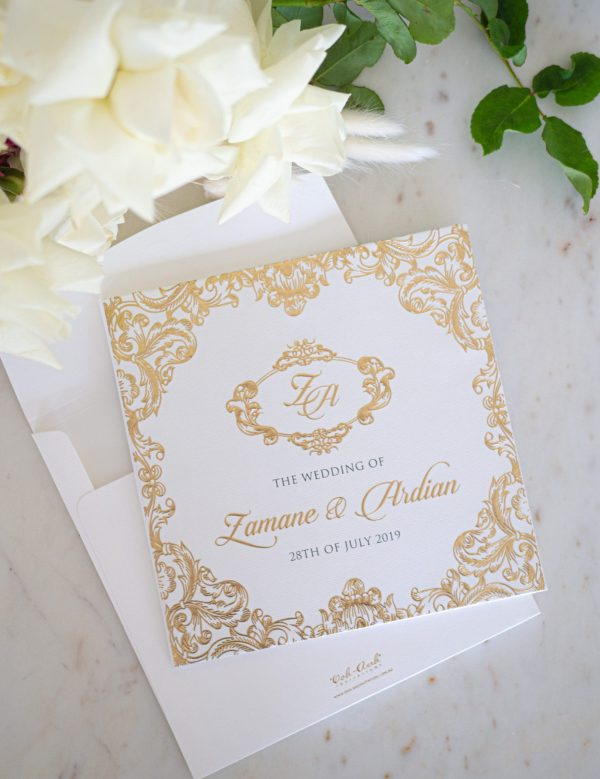 Regal and Elegant Gold Wedding Invitations on Hardcover Booklet