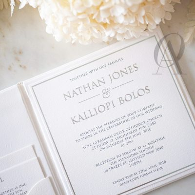 Ivory White and Silver Wedding Invitations with Embossing on Hardcover Booklet