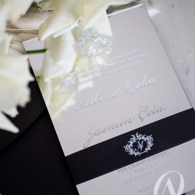 Silver mirror acrylic wedding invitations with white ink print
