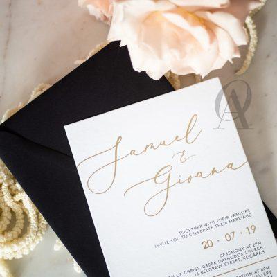Simple elegant wedding invitations gold foil