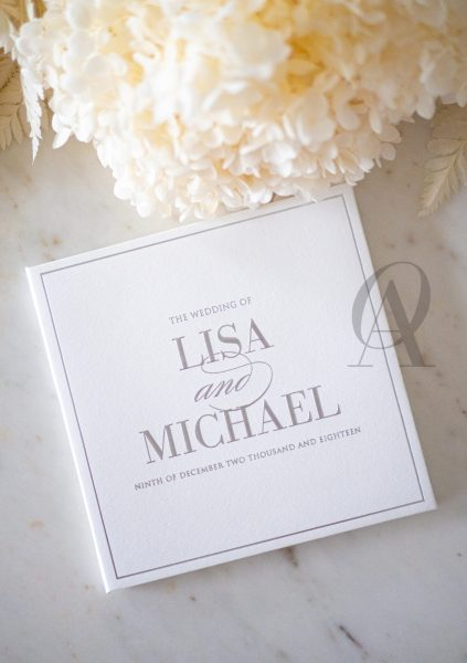 Modern Wedding Invitations with Silver Embossing on Hardcover Booklet