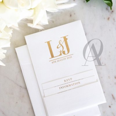 Simple and Modern Wedding Invitations Ivory and Gold Foil Premium Board