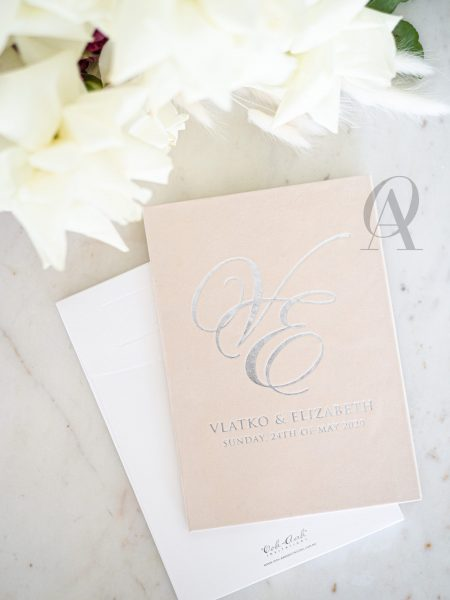 Wedding Invitation Booklet with Suede and Silver Foil