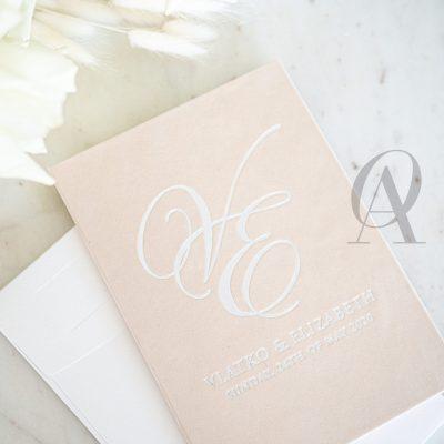 Wedding Invitation Booklet with Silver Wedding Monogram