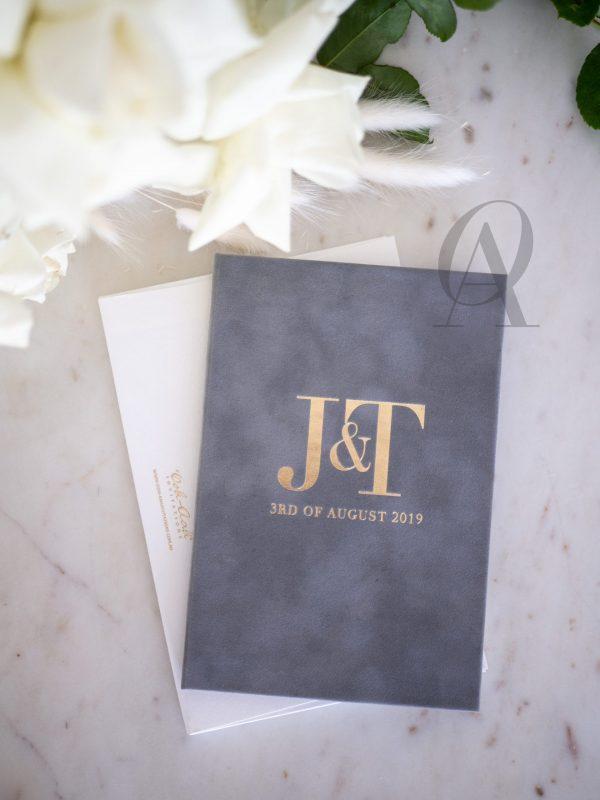 Modern and elegant wedding invitations with gold foil wedding monogram