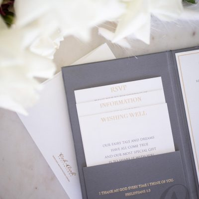 Grey and gold wedding invitations with Modern and elegant wedding invitations with pocket fold insert cards
