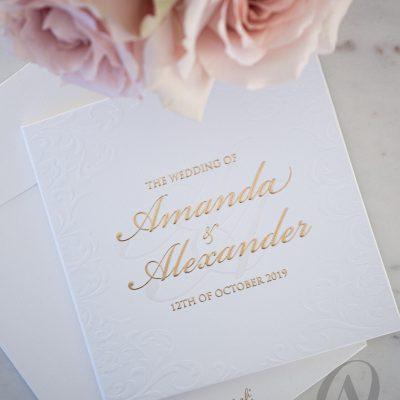 Formal Elegant Embossed Wedding Invitations Gold Hardcover Booklet