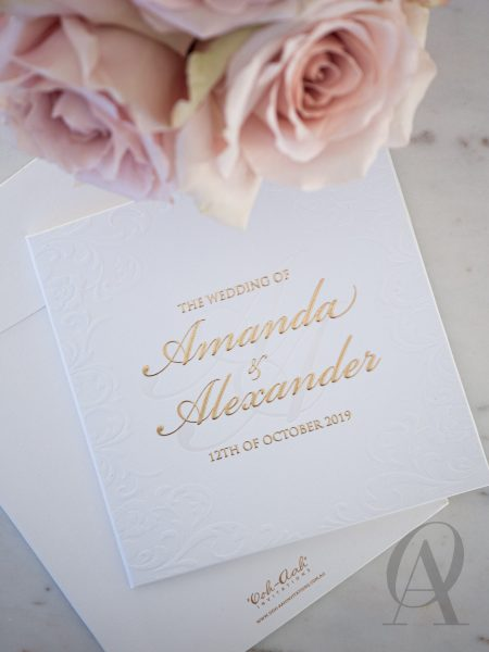 Formal Elegant Embossed Wedding Invitations Gold Hardcover Booklet