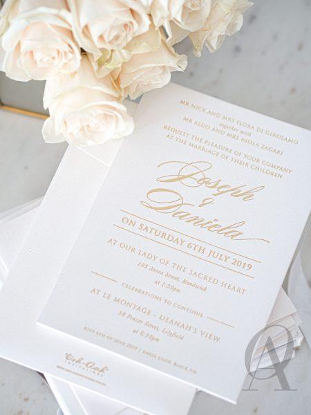 Elegant Ivory Gold Foil Luxury Wedding Invitations Premium Board