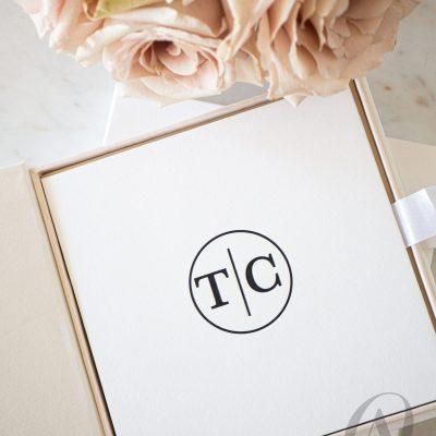 Letterpress wedding invitation in luxury box