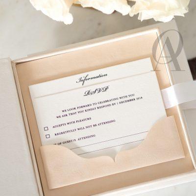 Letterpress wedding invitation pocket RSVP card