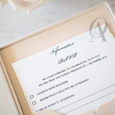 Letterpress wedding invitations pocket rsvp card
