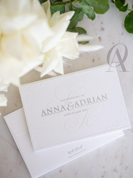 Silver Foil Embossed Hardcover Wedding Invitation Booklet