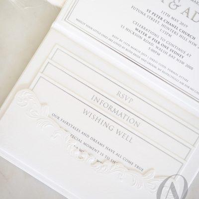 Silver Foil Embossed Hardcover Wedding Invitation Booklet