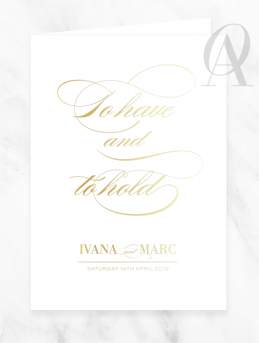 CBGF03 CUSTOM GOLD FOIL TO HAVE AND TO HOLD CHURCH BOOK COVER