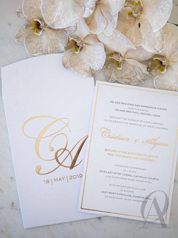 Simple and Elegant White and Gold Wedding Invitations Premium Board
