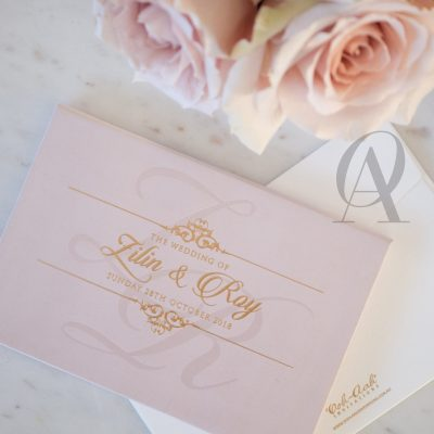 Blush Pink and Rose Gold Wedding Invitations Hardcover Booklet