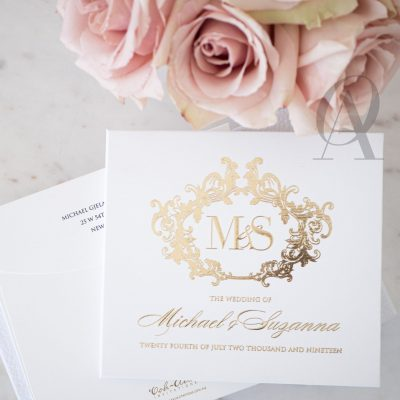 Luxury White and Gold Wedding Invitations Hardcover Booklet