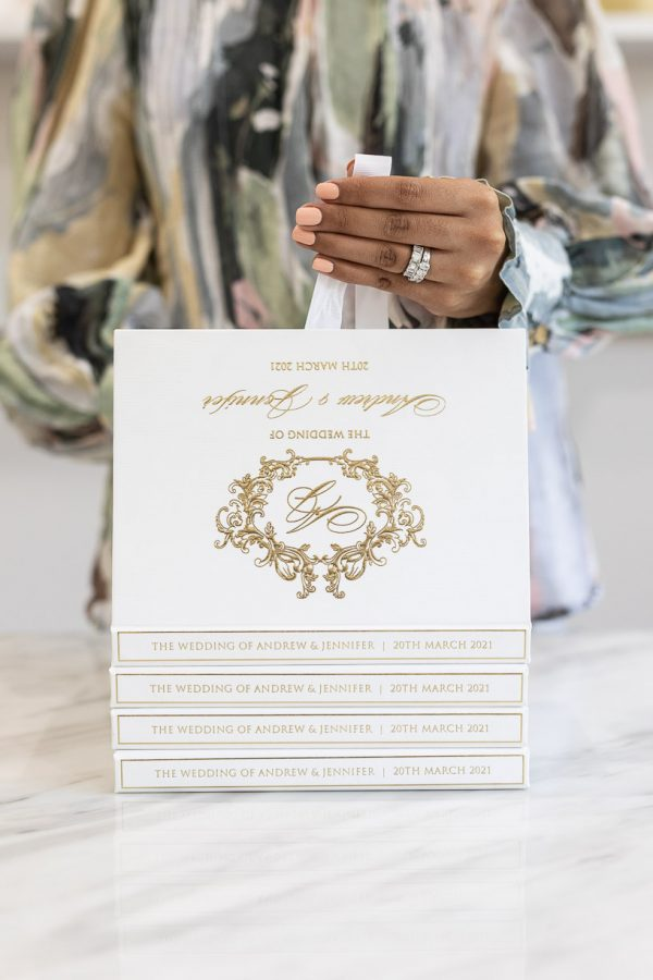 Luxury boxed wedding invitation regal gold foil design