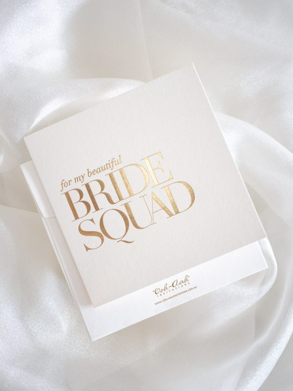 Bridesmaid thank you card with bride squad in gold foil