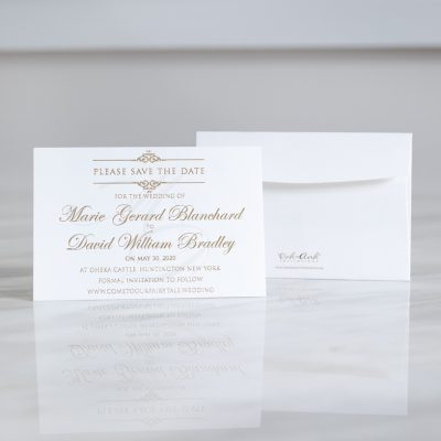 Elegant Save the Date cards with gold foil printing