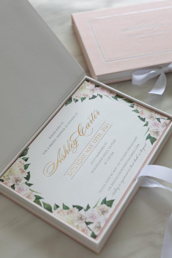 Luxury floral bridal shower invitation box